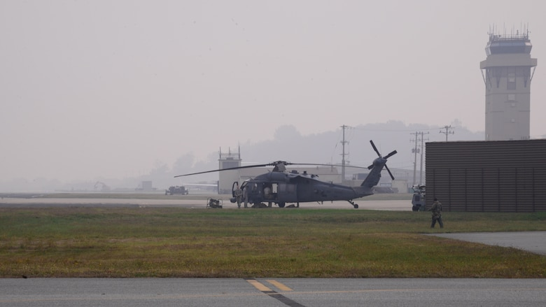 A U.S. Air Force HH-60 Pavehawk from the 33rd Rescue Squadron prepares for takeoff Oct. 16, 2015, at Osan Air Base, Republic of Korea. Members of the 33rd RQS are at Osan from Kadena Air Base, Japan, participating in exercise Pacific Thunder 15-02. The U.S. Air Force, Marines, and the ROK Air Force are working together participating in the joint, combined combat search and rescue exercise. (U.S. Air Force photo by Staff Sgt. Benjamin Sutton)