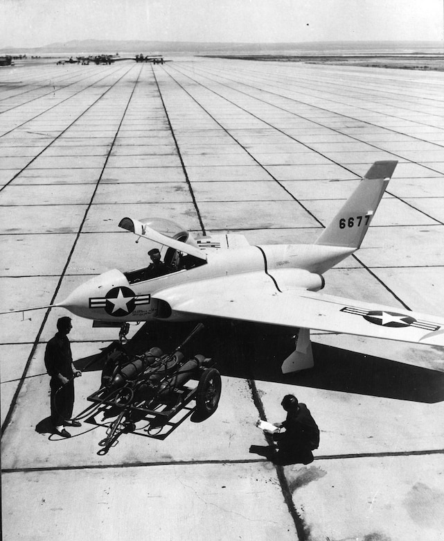 Unlike most aircraft of its time, the X-4 did not have a horizontal tail. (U.S. Air Force photo)