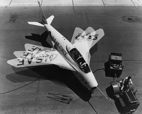Time lapse photograph showing the X-5's full 20-60 degree wing sweep range. This X-5 was destroyed in a crash in 1953. (U.S. Air Force photo)