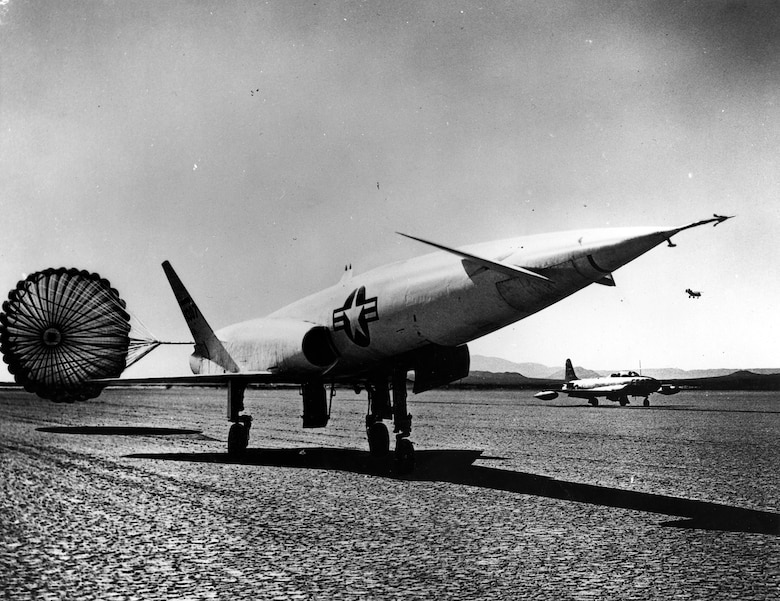 The X-10 took off and landed on its own undercarriage and deployed a parachute to shorten its landing roll. (U.S. Air Force photo)