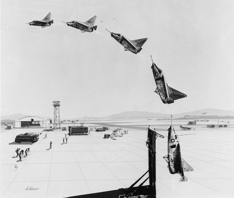 Contemporary illustration showing the transition from vertical to horizontal flight. (U.S. Air Force photo)