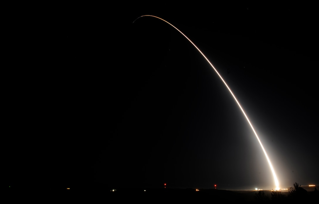 A team of Air Force Global Strike Command Airmen from the 90th Missile Wing at F.E. Warren Air Force Base, Wyo., launched an unarmed Minuteman III intercontinental ballistic missile equipped with a test reentry vehicle from Vandenberg Air Force Base, Calif., Oct. 21, 2015. The ICBM's reentry vehicle, which contained a telemetry package used for operational testing, traveled approximately 4,200 miles to the Kwajalein Atoll in the Marshall Islands. Test launches verify the accuracy and reliability of the ICBM weapon system, providing valuable data to ensure a continued safe, secure and effective nuclear deterrent. (U.S. Air Force photo by Airman 1st Class Ian Dudley)
