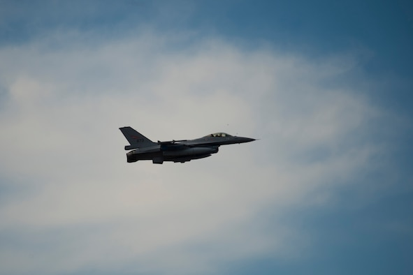 BEJA AIR BASE, Portugal - An F-16 fighter aircraft performs a 'stop-and-go' at Beja Air Base, Portugal Oct. 21, 2015 in support of Exercise Trident Juncture 2015. More than 30,000 troops from more than 30 NATO and allied nations are participating in the exercise. Trident Juncture is an annual NATO Response Force certification exercise.  (U.S. Air Force photo by Airman 1st Class Luke Kitterman/Released)
