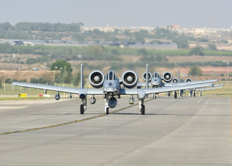 The U.S. Air Force deployed 12 A-10C Thunderbolt II attack aircraft from Moody Air Force Base, Georgia, support equipment and approximately 300 personnel to Incirlik Air Base, Turkey in support of Operation Inherent Resolve Oct. 15, 2015. This deployment follows Turkey's recent decision to open its bases to U.S. and other Coalition members participating in air operations against ISIL. The U.S. and Turkey are committed to the fight against ISIL in pursuit of peace and stability in the region. (U.S. Air Force photo by Airman 1st Class Cory W. Bush/Released)