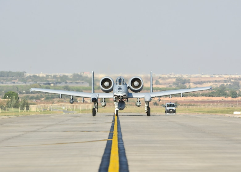 An A-10C Thunderbolt II attack aircraft taxis on the flight line after landing at Incirlik Air Base, Turkey, Oct. 15, 2015. The aircraft are deployed to Turkey in support of the Coalition effort against ISIL and Operation Inherent Resolve. (U.S. Air Force photo by Airman 1st Class Cory W. Bush/Released)
