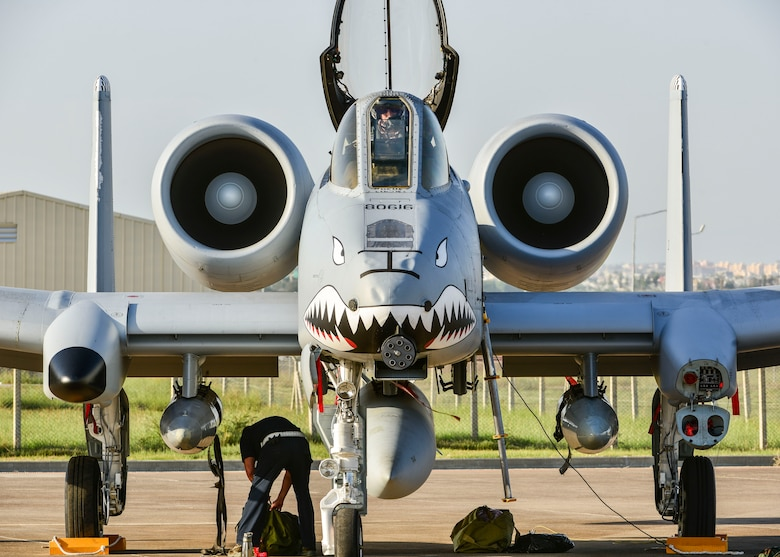 An A-10C Thunderbolt II attack aircraft sits on the flight line at Incirlik Air Base, Turkey Oct. 15, 2015. Along with the 12 A-10C Thunderbolt IIs from Moody Air Force Base, Georgia, the U.S. Air Force deployed support equipment and approximately 300 personnel to Incirlik AB in support of Operation Inherent Resolve. This follows Turkey's recent decision to open its bases to U.S. and other Coalition members participating in air operations against ISIL. The U.S. and Turkey are committed to the fight against ISIL in pursuit of peace and stability in the region. (U.S. Air Force photo by Airman 1st Class Cory W. Bush/Released)