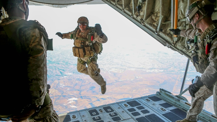 Marines with 1st Reconnaissance Battalion, 1st Marine Division conduct free fall jump training from a C-130 Hercules with 3rd Marine Aircraft Wing aboard Marine Corps Base Camp Pendleton, Calif., Oct. 16, 2015. 1st Recon conducted parachute operations in preparation for future deployments.