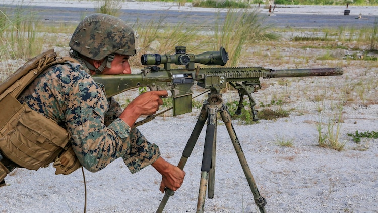 U. S. Marine Cpl. Wesley Waukau, a scout sniper with Battalion Landing Team 2nd Battalion, 5th Marines, 31st Marine Expeditionary Unit, fires his rifle during live-fire training at Philippine Marines at Crow Valley, Philippines, Oct. 6, 2015. Philippine Marines with 31st Marine Company, Marine Battalion Landing Team 1, Armed Forces of the Philippines and the U.S. Marines with BLT 2/5, 31st MEU, are training side by side as part of Amphibious Landing Exercise 2015, an annual bilateral training exercise conducted by members of the Armed Forces of the Philippines alongside U.S. Marine and Navy Forces.