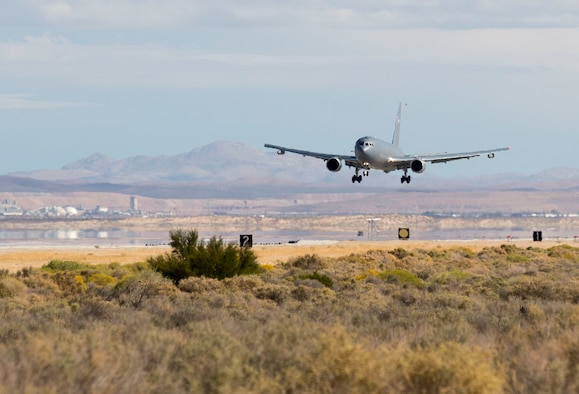 The KC-46 program's first test aircraft, a Boeing 767-2C (EMD-1), departed from its home at Boeing Field in Seattle and touched down at Edwards Air Force Base, Calif., for the first time Oct. 15, 2015. (U.S. Air Force photo/Ethan Wagner)