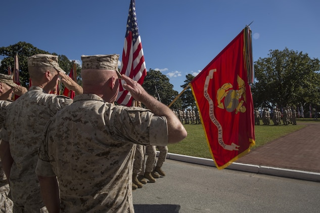 Gen. John M. Paxton (far left), Assistant Commandant of the Marine Corps, Maj. Gen. William D. Beydler (middle), former commanding general of II Marine Expeditionary Force, and Maj. Gen. Walter L. Miller Jr., commanding general of II MEF, salute the II MEF colors during a change of command ceremony at Camp Lejeune, N.C., Oct. 22, 2015. During the ceremony, Miller assumed command from Beydler. Miller plans to continue support for operations and exercises that range from expeditionary to amphibious in nature. Marines and sailors of II MEF will employ for humanitarian assistance, disaster relief, crisis and contingency response, theater security cooperation, and serve as a credible deterrent force for the United States of America.
