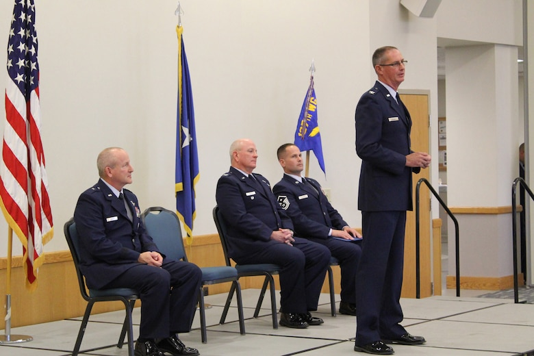 Col. Mark Manor, 127th Medical Group commander, addresses the audience at the transfer of command ceremony for the 127th Wing Medical Group at Selfridge Air National Guard Base, Michigan, October 18, 2015. (U.S. Air National Guard photo by TSgt. Dan Heaton/released)