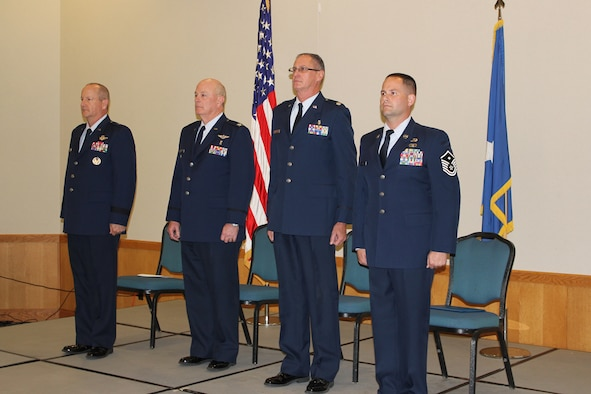 From left to right:  Brig. Gen. John Slocum, 127th Wing commander, Col. Sidney Martin, Michigan Air National Guard Air Surgeon, Col. Mark Manor, 127th Medical Group commander, and Master Sgt. Lyle Black, 127th Medical Group first sergeant all prepare for the transfer of command ceremony for the 127th Wing Medical Group at Selfridge Air National Guard Base, Michigan, October 18, 2015. (U.S. Air National Guard photo by TSgt. Dan Heaton/released)