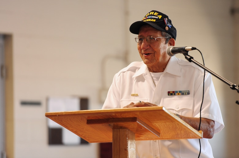 Paul Rojas, Guadalupe Center Inc. board president, speaks to members of Team Whiteman during the Hispanic American Heritage Month luncheon Oct. 16, 2015, at Whiteman Air Force Base, Mo. Rojas shared stories of his service in the Navy, how he fought for civil rights in Missouri and the importance of making a better future for Americans. (U.S. Air Force photo by Airman 1st Class Jazmin Smith/Released)