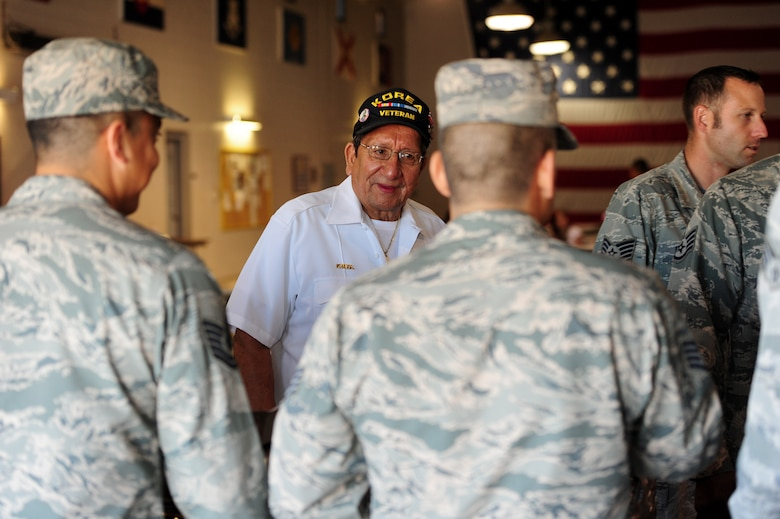 Paul Rojas, Guadalupe Center Inc. board president, passes through the buffet line during the Hispanic American Heritage Month luncheon Oct. 16, 2015, at Whiteman Air Force Base, Mo. Rojas was one of two guest speakers for the event, and had the opportunity to speak on Hispanic culture, people and their impact on American history. (U.S. Air Force photo by Airman 1st Class Jazmin Smith/Released)
