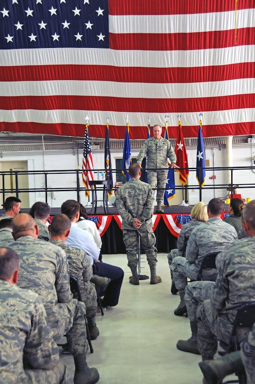 Gen. Mark A Welsh III, Chief of Staff of the Air Force, listens as an Airman from the Utah Air National Guard asks him a question during the Q-and-A portion of an All Call held at the Roland R. Wright Air National Guard Base on Oct. 14, 2015. More than 400 full-time and traditional Guardsmen were in attendance to hear Gen. Welsh's remarks. (U.S. Air National Guard photo by Staff Sgt. Annie Edwards/Released)