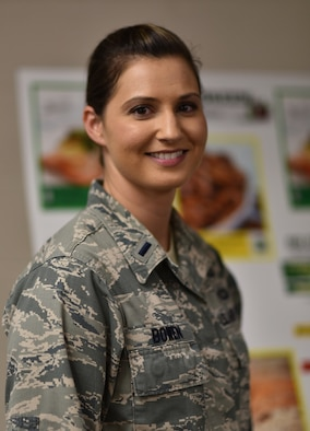 First Lt. Rachel Bowen, 175th Services Flight Commander stands in the  kitchen of Warfield Air National Guard Base's Dining Facility in Baltimore, Md. Bowen is the October Airman Spotlight.(U. S. Air National Guard photo by Senior Master Sgt. Ed Bard/RELEASED)