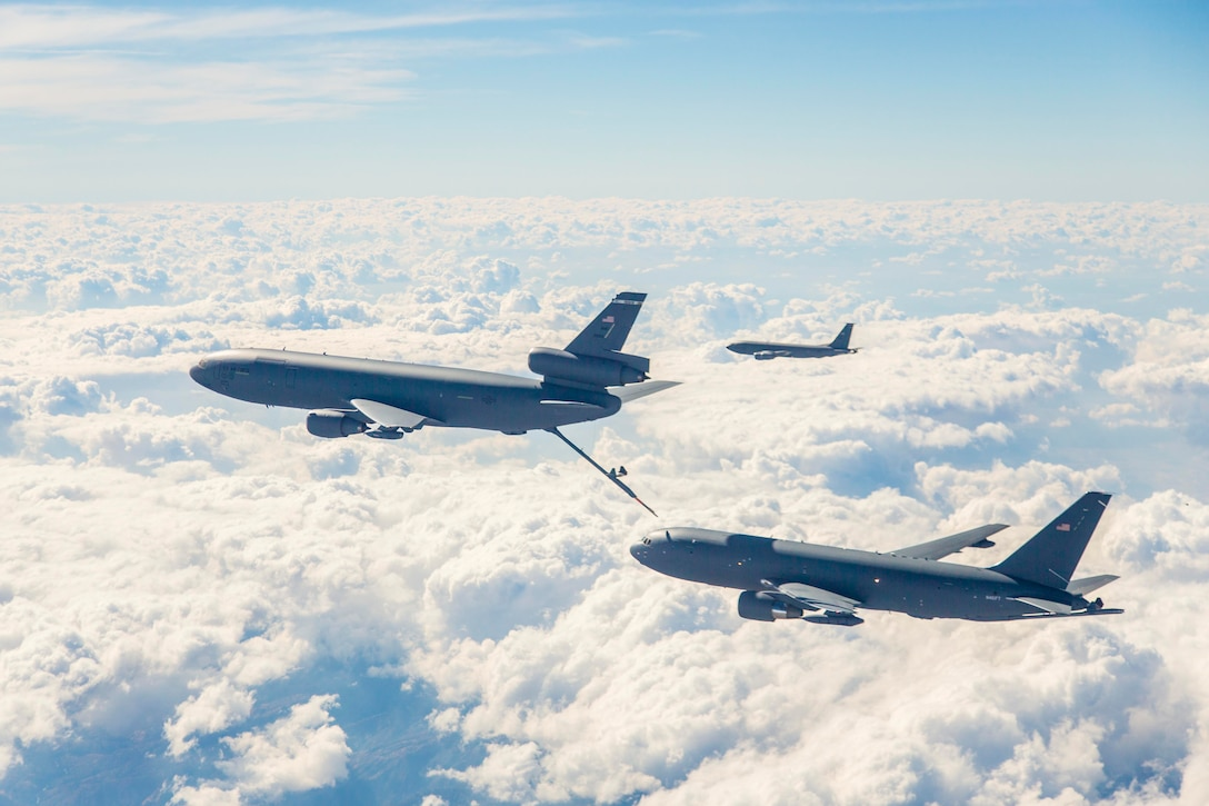 Boeing and the 418th Flight Test Squadron are conducting ground effects and fuel onload fatigue testing on the new KC-46A Pegasus. Fuel onload fatigue tests will gather data to characterize the aircraft interaction typically experienced when the KC-46A is flying in receiver formation behind a current KC-135 Stratotanker or KC-10 Extender. While the KC-46's role is to refuel other aircraft, it too may need to be refueled from other KC-10s or KC-135s to extend its range. Fuel onload fatigue testing is the first look at the KC-46 acting in that role. (U.S. Air Force photo/Christopher Okula)