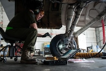 Staff Sgt. Matthew Lawson, assigned to the 455th Expeditionary Maintenance Squadron, works to complete a 400-hour phase inspection on an F-16 Fighting Falcon Oct. 18, 2015, at Bagram Airfield, Afghanistan. The phase inspection team conducts inspections after every 400 hours of flight. (U.S. Air Force photo/Tech. Sgt. Joseph Swafford)
