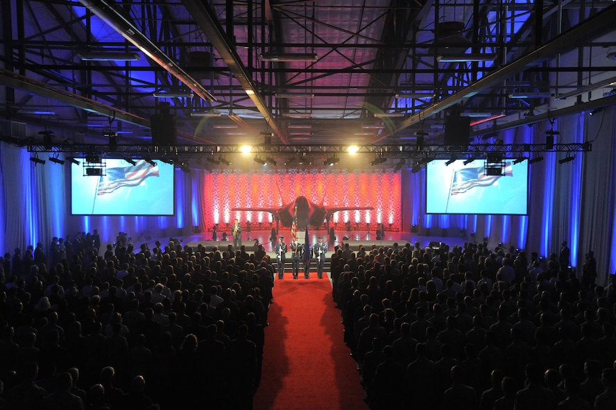 The Hill Air Force Base Honor Guard presents the colors during an F-35A Lightning II aircraft unveiling ceremony Oct. 14, 2015, at the Hill AFB, Utah. The unveiling commemorated the beginning of a new era in combat airpower at Hill. Ceremony attendees included military leaders, state and local dignitaries, industry partners, and base personnel. (U.S. Air Force photo/Todd Cromar)