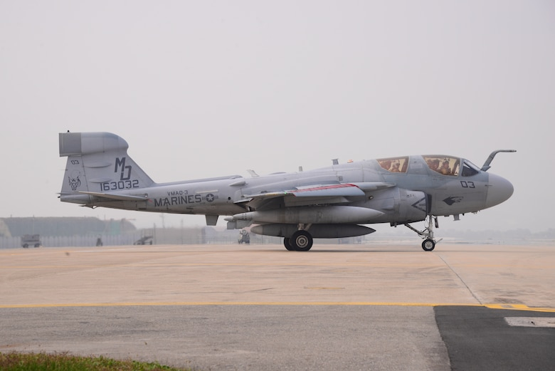 An EA-6B Prowler assigned to Marine Tactical Electronic Warfare Squadron 4 taxis toward the runway Oct. 16, 2015, at Osan Air Base, South Korea. The Marines participated in exercise Pacific Thunder 15-02. More than 10 different organizations and squadrons came together to participate in the two-week exercise. (U.S. Air Force photo/Staff Sgt. Benjamin Sutton)