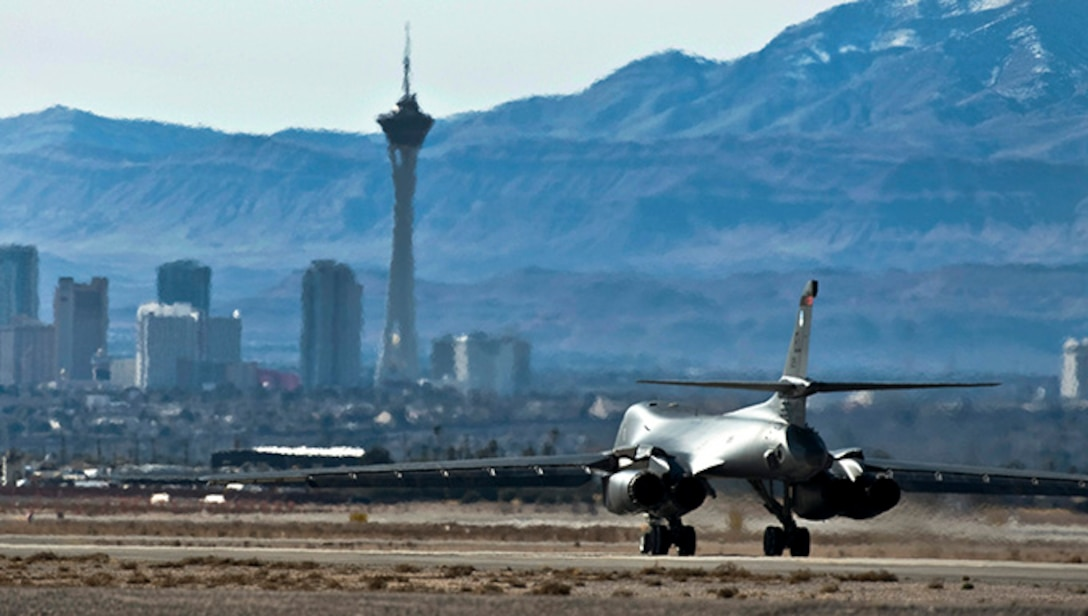 A U.S. Air Force B-1B Lancer taxis out before a training mission over the Nevada Test and Training Range during Red Flag 12-2 Jan. 24, 2011, at Nellis Air Force Base, Nev. Red Flag is a realistic combat training exercise involving the air forces of the United States and its allies. The exercise is hosted north of Las Vegas on the NTTR. (U.S. Air Force photo by Senior Airman Brett Clashman)