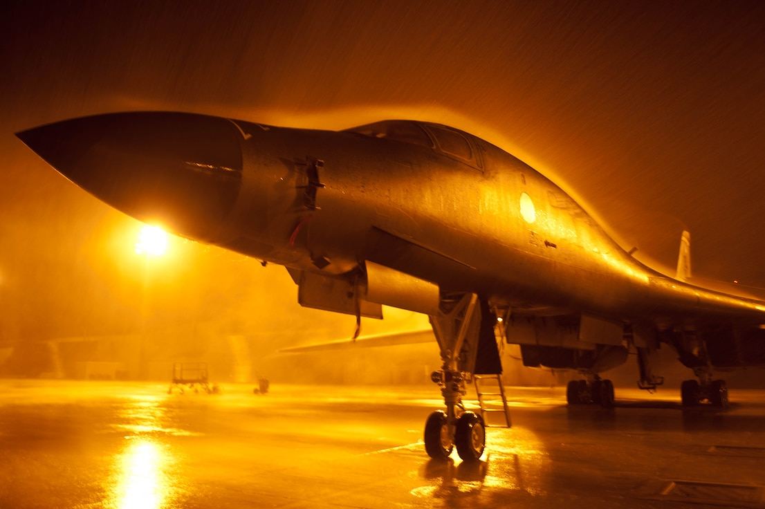 A B-1 Bomber sits on the flightline at Ellsworth Air Force Base, South Dakota.