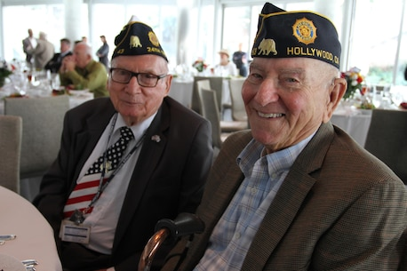 World War II Veterans pose for a photo during a World War II Victory Luncheon and Celebration at the Skirball Cultural Center in Los Angeles, Oct. 14, 2015. Poolees from Recruiting Sub Station Hollywood, Calif., participated in a swear-in-ceremony and spoke to World War II veterans about their experiences in the military. (U.S. Marine Corps photo by Sgt. Alicia R. Leaders/Released)