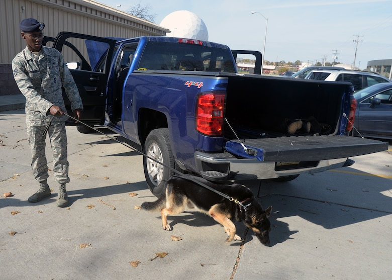 Staff Sgt. Elbert Foreman, 55th Security Force Squadron Military Working Dog handler, and Military Working Dog Rocky, perform a sweep around a vehicle Oct. 21 at the 55th SFS MWD training facility. MWD Rocky is validated in explosion detection. (U.S. Air Force photo by Kendra Williams/Released)