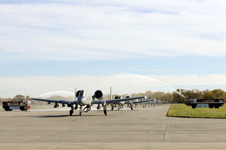 151022-Z-EZ686-160 -- Ten A-10 Thunderbolt II aircraft of the 127th Wing's 107th Fighter Squadron from Selfridge Air National Guard Base, Mich., receive a warm welcome home to the base after a six month deployment on October 22, 2015.  The Warthogs had deployed to southwest Asia in support of U.S. Central Command's Operation Inherent Resolve last April. (U.S. Air National Guard photo by Master Sgt. David Kujawa)