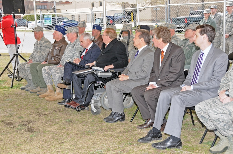 Rhode Island National Guard Leadership and Rhode Island Political Leaders attend a ground breaking ceremony for the new simulator facility to be located at the 143d Airlift Wing, Quonset Air National Guard Base, North Kingstown, RI. National Guard Photo by Master Sgt Janeen Miller (RELEASED)