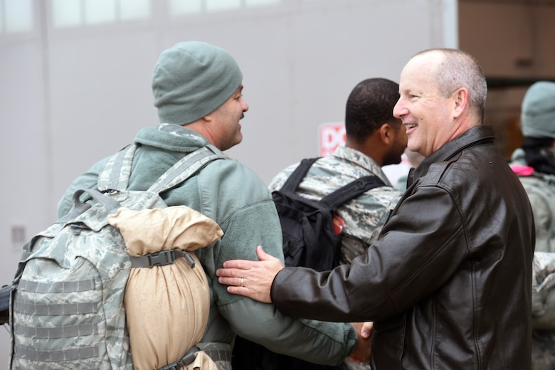 151024-Z-EZ686-196 -- Brig. Gen. John D. Slocum, commander of the 127th Wing at Selfridge, welcomes home hundreds of Airmen from the 127th Wing, Selfridge Air National Guard Base, Mich., on October 24, 2015 after a six month to Southwest Asia in support of U.S. Central Command's Operation Inherent Resolve.   (U.S. Air National Guard photo by Master Sgt. David Kujawa)