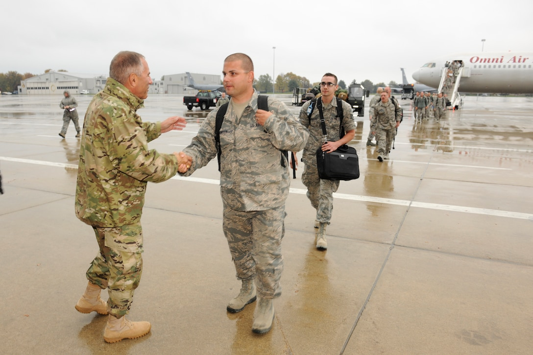151024-Z-EZ686-196 -- Major Gen. Gregory J. Vadnais, adjutant general of Michigan, welcomes home hundreds of Airmen from the 127th Wing, Selfridge Air National Guard Base, Mich., on October 24, 2015 after a six month to Southwest Asia in support of U.S. Central Command's Operation Inherent Resolve.   (U.S. Air National Guard photo by Master Sgt. David Kujawa)
