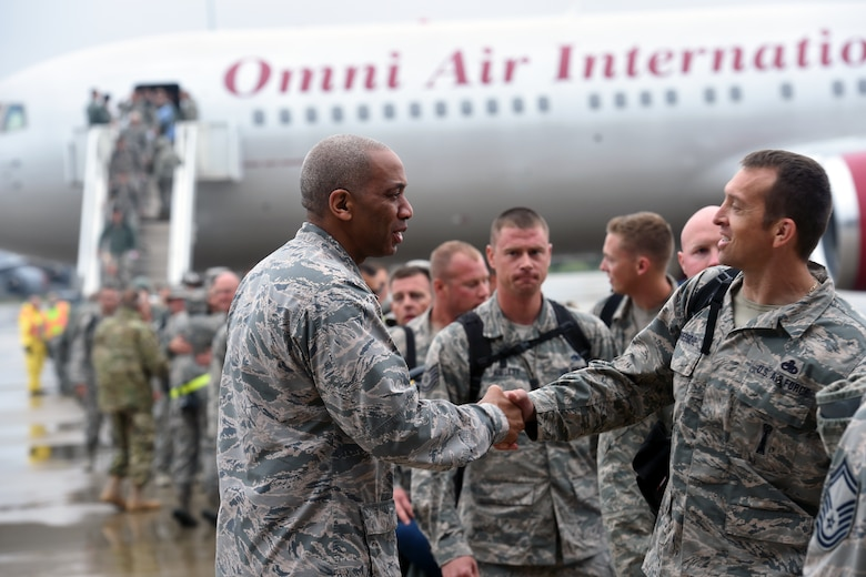 151024-Z-EZ686-168 -- Brig. Gen. Leonard W. Isabelle, Jr., commander of the Michigan Air National Guard, welcomes home Hundreds of Airmen from the 127th Wing, Selfridge Air National Guard Base, Mich., on October 24, 2015 after a six month to Southwest Asia in support of U.S. Central Command's Operation Inherent Resolve.   (U.S. Air National Guard photo by Master Sgt. David Kujawa)