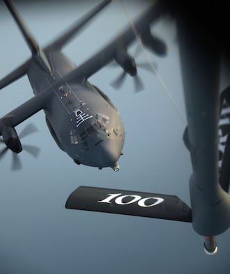A U.S. Air Force MC-130J Commando II from RAF Mildenhall, England, prepares to receive fuel from a KC-135 Stratotanker from RAF Mildenhall, England, Oct. 22, 2015, over the Atlantic Ocean. The two aircraft were training in exercise Trident Juncture, an exercise designed to help militaries respond more effectively to regional crises with NATO allies and partners – improving security of borders, ensuring energy security and countering threats of terrorism. (U.S. Air Force photo by Senior Airman Christine Halan/Released)