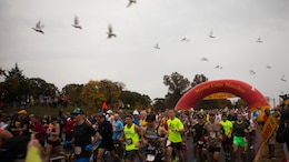 "More than 30, 000 men and women from all over the world start the 40th Marine Corps Marathon in Arlington, Virginia, Oct. 25. This year's participants joined the 512,370 runners who have completed the ""Peoples Marathon"" since its inaugural event in 1976."