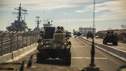 Marines with 4th Light Armored Reconnaissance Battalion, 4th Marine Division, Marine Forces Reserve, conduct a road march in light armored vehicles in Rota, Spain, Oct. 23, 2015, in support of Exercise Trident Juncture 2015. The exercise is the largest NATO exercise in the past 10 years that includes more than 5,000 U.S. service members out of 36,000 troops from more than 30 nations.