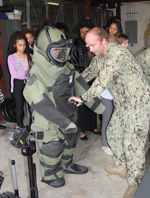 Students from Westlake High School see STEM in action as they try out Explosive Ordnance Disposal (EOD) technologies and tools during their visit to NSWC Indian Head EOD Technology Division, Oct. 13.