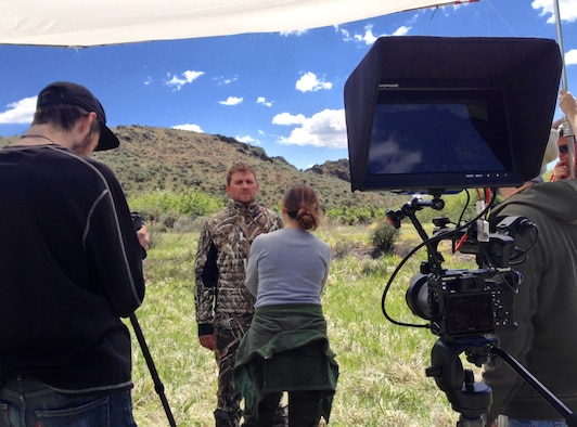 Personnel set-up a technical demonstration video shoot for a hunting line of clothing near Sun Valley, Idaho, May 9, 2015. While civilian production companies have hierarchies similar to a military chain of command, the roles each member holds can differ greatly. Military members can learn from the commercial approach to refine their processes and enhance customer satisfaction. (Photo by Tech. Sgt. Samuel Morse)