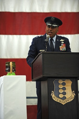 Maj. Gen. Richard Clark, Eighth Air Force commander, stands next to the 28th Bomb Wing Toby jug as he addresses Ellsworth Airmen during the B-1 realignment ceremony at Ellsworth Air Force Base, S.D., Sept. 28, 2015. At the conclusion of the event, the jug was turned to face the crowd, symbolizing Ellsworth's acceptance of the mission to be ready to deliver combat airpower anywhere in the world, any time. (U.S. Air Force photo by Airman Sadie Colbert/Released)