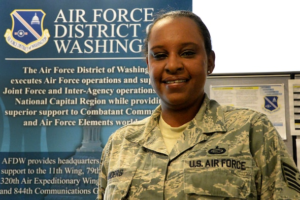 Tech. Sgt. Tona Landers, an Air Force District of Washington Capital Airman, directly supports AFDW leadership every day. As the NCO in charge of the Personnel Management Division, she plays a key role in the administrative mission at AFDW.Air Force District of Washington Capital Airmen have made a difference in their unit by their outstanding performance. Capital Airmen, selected by AFDW leaders, epitomize the pride, teamwork, and success that drive the AFDW mission. (U.S. Air Force photo/Staff Sgt. Matt Davis)