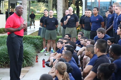 The Sergeant Major of the Marine Corps, Sergeant Major Ronald Green Visited Recruiting Station Fort Lauderdale during their monthly pool validation to inspire and motivate the Marines and Future Marines. (Photos by Sgt Michael Lopez)