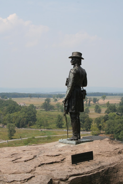 Statue of General Gouverneur K. Warren at Gettysburg National Battlefield.