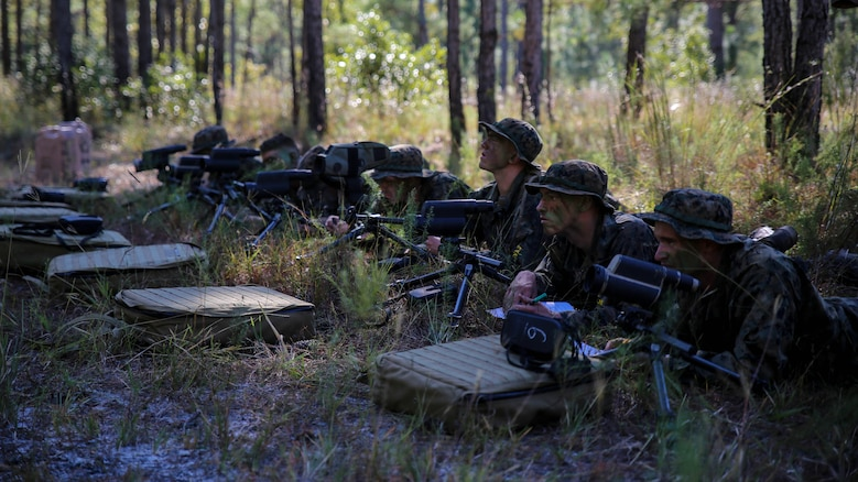 Marine candidates with 2nd Battalion, 8th Marine Regiment, look through spotting scopes as part of the Scout Sniper Platoon screening at Marine Corps Base Camp Lejeune, North Carolina, Oct. 23, 2015. Following their field operation, candidates took their final written test and conducted an interview with their instructors.
