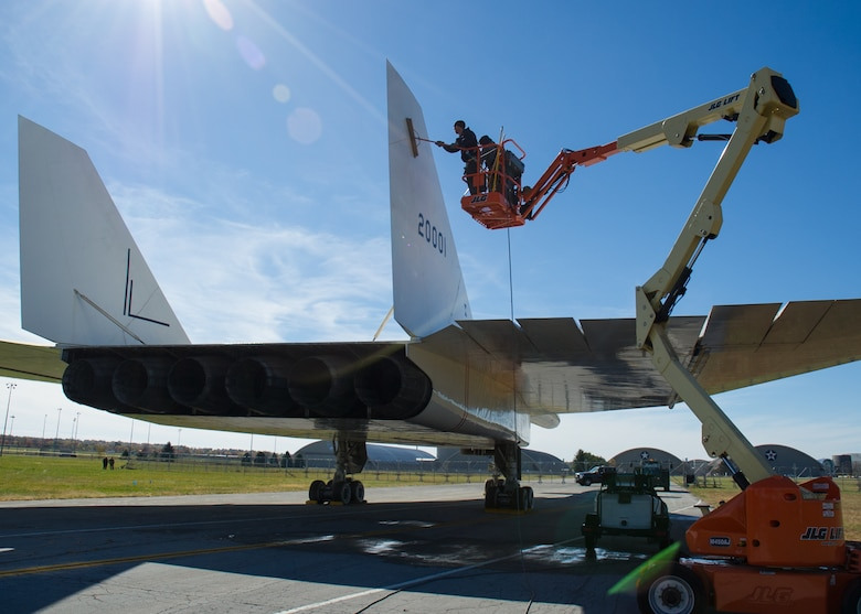 Restoration crews wash the North American XB-70 Valkyrie prior to its move to the new fourth building at the National Museum of the U.S. Air Force on Oct. 26, 2015. (U.S. Air Force photo by Ken LaRock)