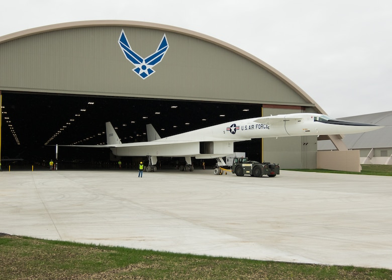 Restoration staff move the North American XB-70 Valkyrie into the new fourth building at the National Museum of the U.S. Air Force on Oct. 27, 2015. (U.S. Air Force photo by Don Popp)