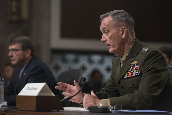Marine Corps Gen. Joseph F. Dunford Jr., chairman of the Joint Chiefs of Staff, testifies before the Senate Armed Services in Washington, D.C., Oct. 27, 2015. DoD photo by U.S. Navy Petty Officer 2nd Class Dominique A. Pineiro