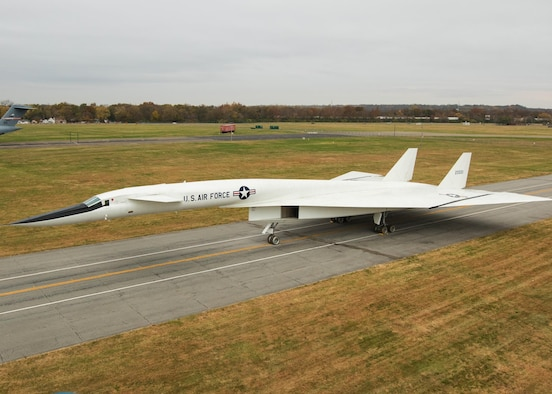 Restoration staff move the North American XB-70 Valkyrie into the new fourth building at the National Museum of the U.S. Air Force on Oct. 27, 2015. (U.S. Air Force photo by Will Haas)