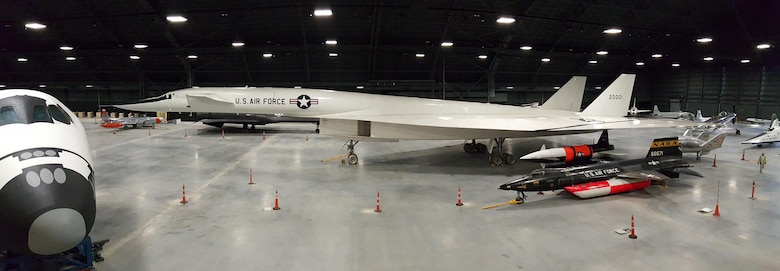 Restoration staff move the North American XB-70 Valkyrie into the new fourth building at the National Museum of the U.S. Air Force on Oct. 27, 2015. This photo shows the current view from the balcony of the fourth building. (U.S. Air Force photo by Doug Lantry)