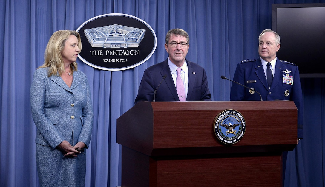 Secretary of Defense Ashton Carter introduces Secretary of the Air Force Deborah Lee James and Air Force Chief of Staff Gen. Mark A. Welsh III, during a press briefing to announce the award of the long range strike bomber contract in the Pentagon, Oct. 27, 2015.  During her comments, James stated that we need to invest the right people, technology, capability, and training to defend the nation and its interest--always with affordability and tight budgets in mind.   (U.S. Air Force photo/Scott M. Ash)