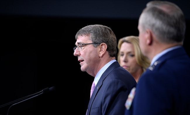 Secretary of Defense Ashton Carter introduces Secretary of the Air Force Deborah Lee James and Air Force Chief of Staff Gen. Mark A. Welsh III, during a press briefing to announce the award of the long range strike bomber contract in the Pentagon, Oct. 27, 2015.  We need to invest the right people, technology, capability, and training to defend the nation and its interest--always with affordability and tight budgets in mind.   (U.S. Air Force photo/Scott M. Ash)